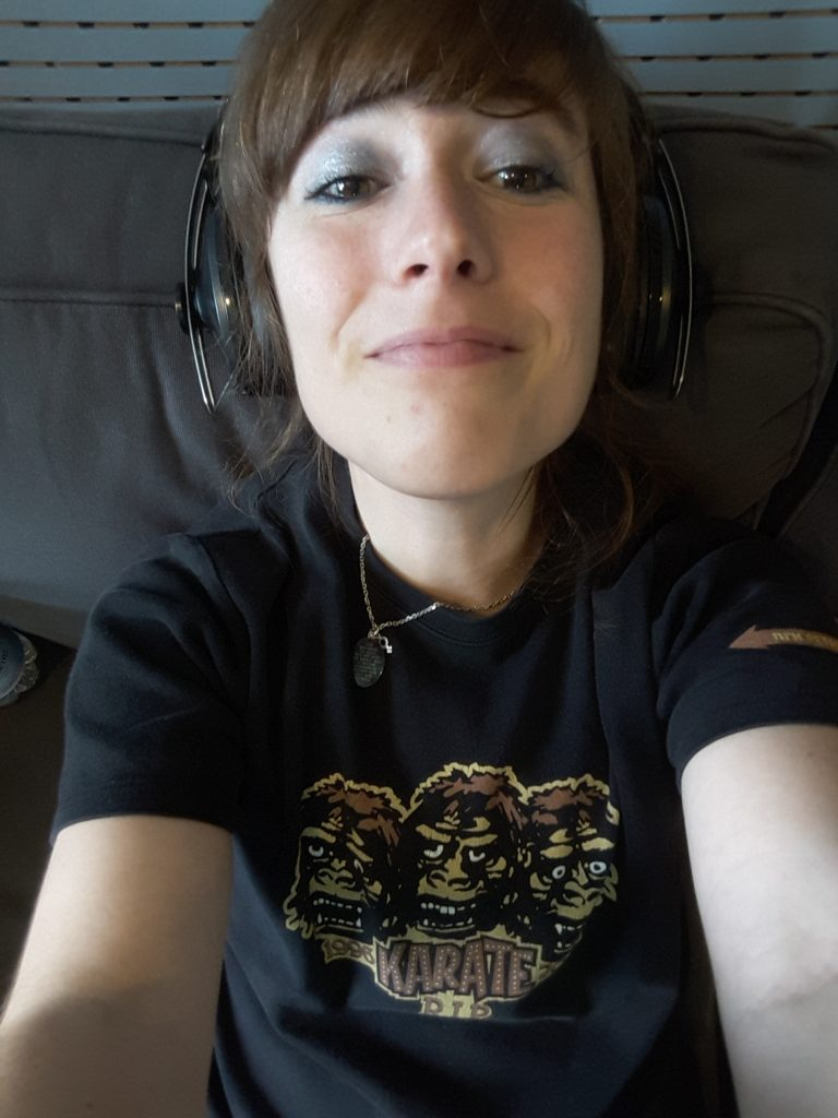 And me being studio happy. (And my old Karate t-shirt from 2003)